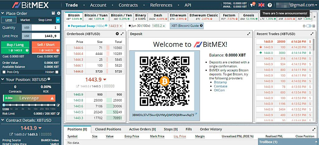Bitmex account