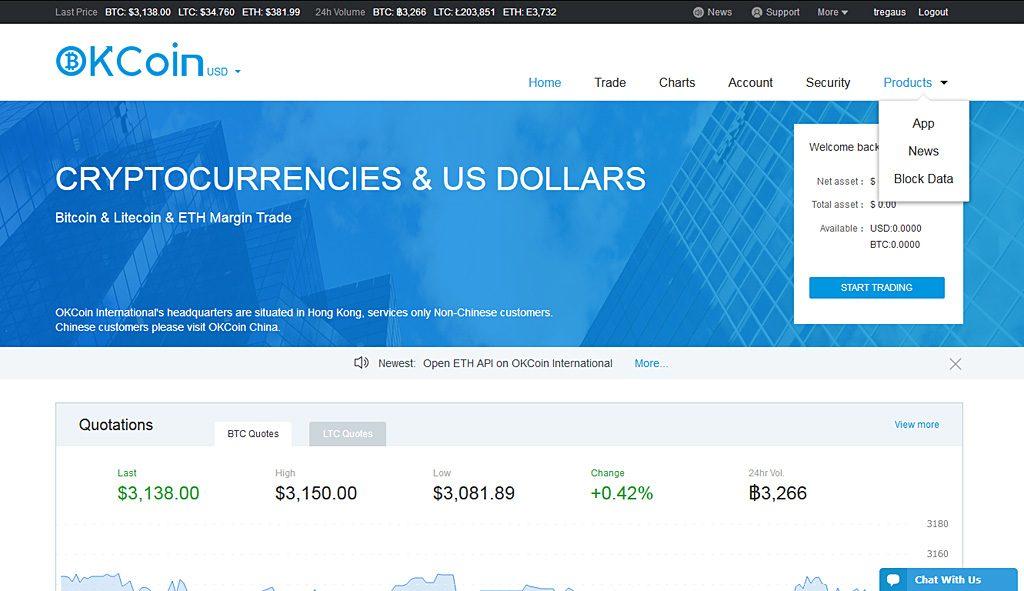 Okcoin.com home