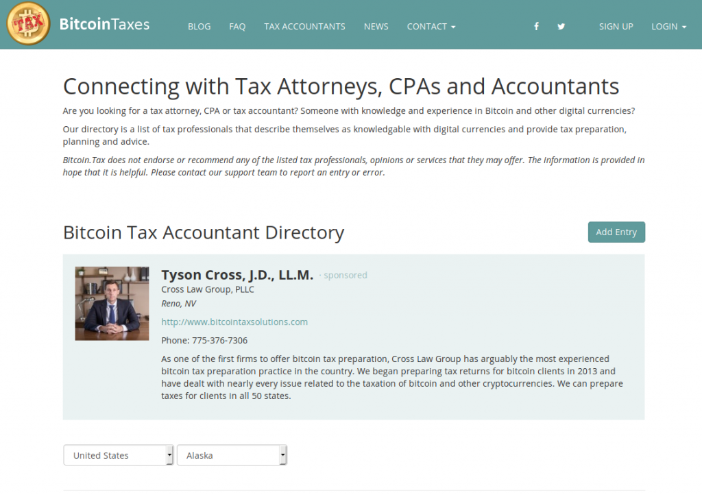 Bitcoin.tax Accountant Directory