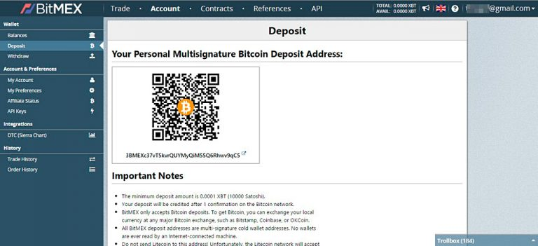 Bitcoin deposit for BitMEX margin trading
