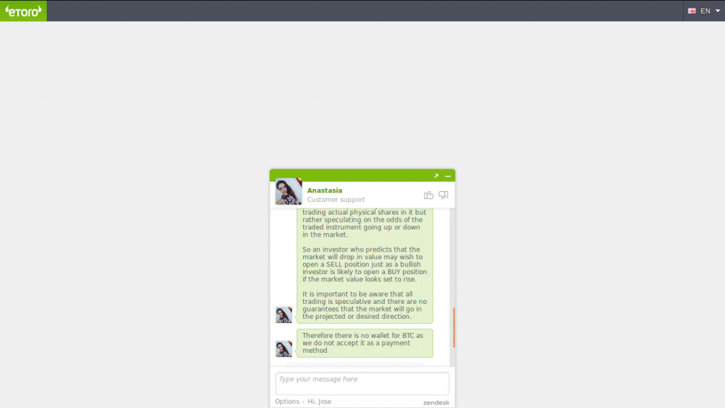 Zendesk chat on eToro