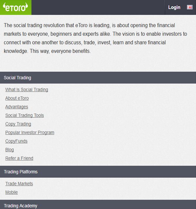 eToro's app. Responsive page.