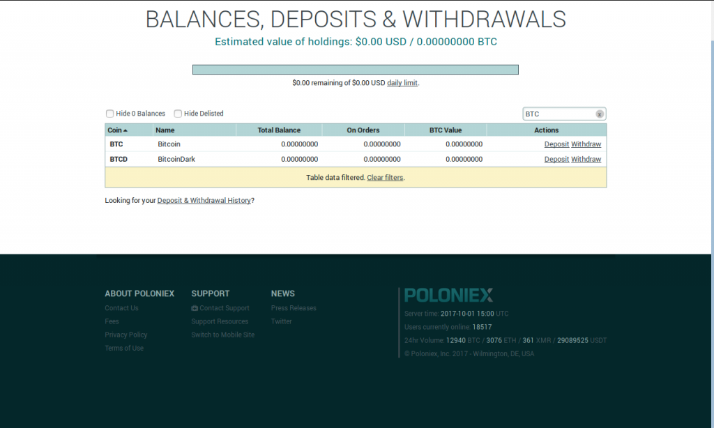 "Balances filtered using the ""BTC"" keyword"
