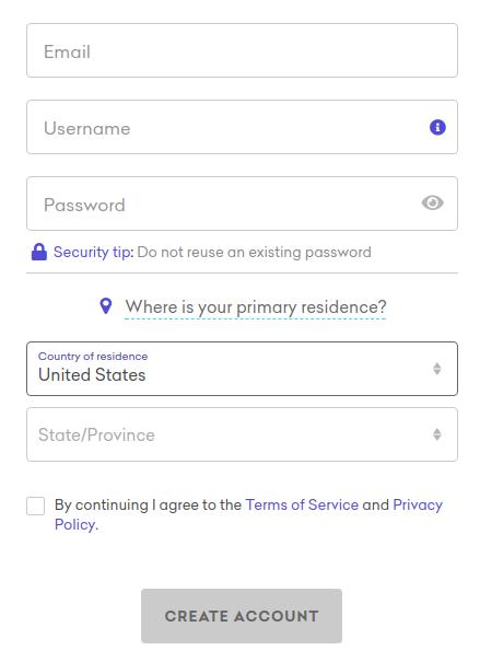 Kraken review – sign up interface