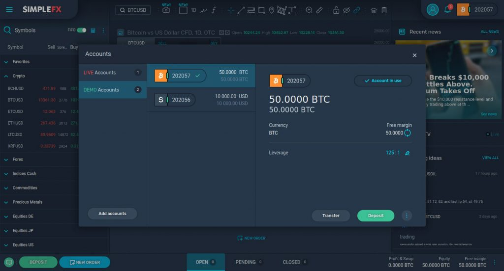 Simplefx review 2020 - dashboard