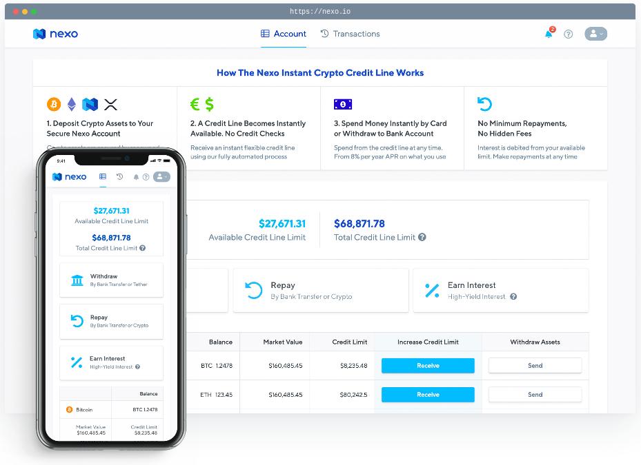nexo loans review – account dashboard