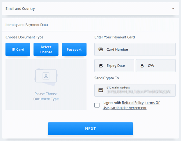 PrimeXBT credit card payment