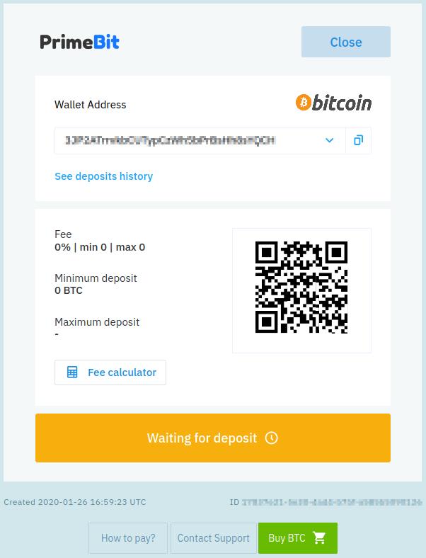 Primebit deposit