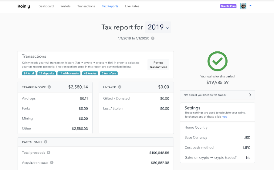 koinly crypto tax report