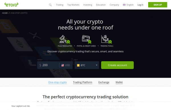 eToro Bitcoin broker for short trading