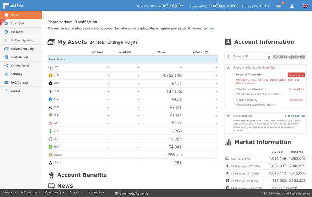 bitFlyer account dashboard